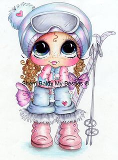 INSTANT DOWNLOAD Digital Digi Stamps img180 Big Eyed  Besties Big Head Dolls Digi By Sherri Baldy