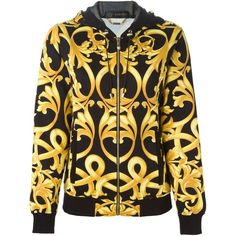 Versace baroque hooded jacket ($1,655) ❤ liked on Polyvore featuring tops, hoodies, black, leather top, versace hoodies, leather hoodies, long sleeve tops and black long sleeve top