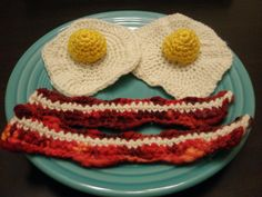 Crocheted Bacon and Eggs by Leslie Deil