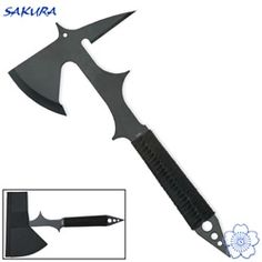 Tactical throwing ax/hatchet  ummm, who does'nt want a double bladed hatchet