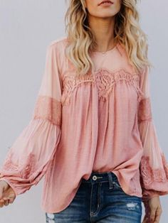 New ROVLET Womens Long Sleeve Chiffon Blouses Sexy Solid Lace O Neck See Through Casual Shirt Tunic Tops online shopping - Aristalook Spring Blouses, Linen Blouse, Classic Outfits, Boho Tops, Hippy, Lady, Blouses For Women, Long Sleeve Tops, Pink