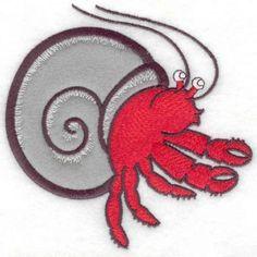 Hermit crab applique large | Applique Machine Embroidery Design or Pattern