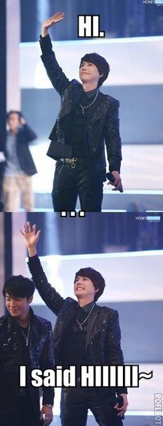 Look at the first pict: Kyuhyun looks so charming, and the 2nd: looks so cuuuuteeeeee >.<