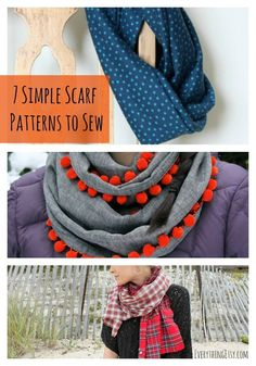 Sewing 7 Simple Scarf Patterns to Sew.time to start that fall sewing! Sewing Hacks, Sewing Tutorials, Sewing Projects, Sewing Crafts, Craft Tutorials, Sewing Ideas, Diy Clothing, Sewing Clothes, Scarf Patterns