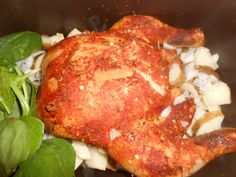crock pot whole chicken, spinach, and potatoes
