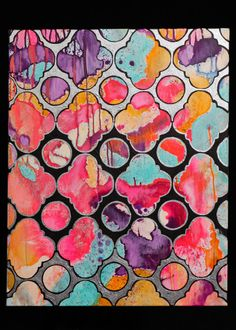 """Quartrefoil Trellis Abstract original painting by Jennifer Moreman. 24x30"""". Painted in acrylic and metallic silver enamel on a ready to hang gallery wrap canvas"""
