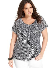 Style Plus Size Top, Short-Sleeve Printed Scoop-Neck - Plus Size Tops - Plus Sizes - Macy's