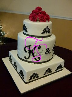 Black, with and red wedding cake