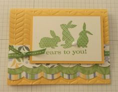 handmade Easter card: Ears to You ... green, yellow and vanilla ... like these big scalloped bands of patterned paper ... Stampin' Up!