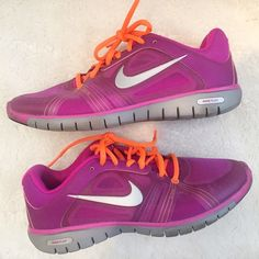 Nike Sneakers Worn but good condition. Wear shown in photos. Fuschia and Orange laces. Size 9 true to size. Nike Flex Nike Shoes Sneakers