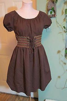 vintage 60s 70s drindl corset mini dress PIN UP brown cinch waist