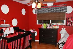 Isabella's Minnie Mouse Nursery  #polka dots