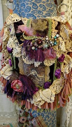 Handmade Fabric Vintage Lace Crochet Bag Jewelry Fringe Hippie Boho Purse tmyers #Handmade #CrossBodyANDShoulderBag
