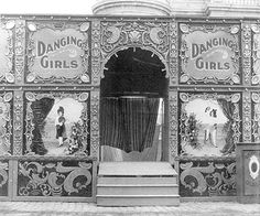 A single-wagon girl-show front on a Gaskill Carnival, early 1900s.