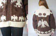 vintage 1970s eagle sweater / 70s heavy brown and white cowichan sweater / unisex / size medium - large - xl