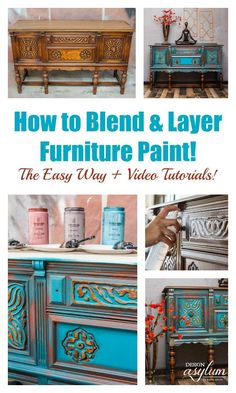 How to Blend & Layer Paint on your painted furniture projects. Learn the furniture painting technique of blending and layering multiple colors while painting furniture to achieve a gorgeous finish. The layered painting technique is truly one of a kind. Furniture Painting Techniques, Chalk Paint Furniture, Diy Furniture Projects, Furniture Makeover, How To Paint Rustic Furniture, Sanding Furniture, Restoring Furniture, Homemade Furniture, Furniture Websites