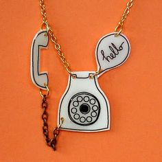 I Love Handmade: Vintage Phone Charm Pendant by She Draws