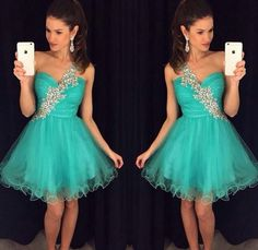 A-line Homecoming Dresses, Mint Homecoming Dresses, Short Homecoming Dresses With Rhinestone Sleeveless Mini, Short Homecoming Dresses, One Shoulder Dresses, Homecoming Dresses Short