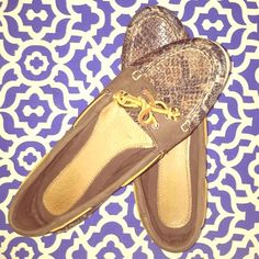 Snake Print Sperry Top-Siders Super cute Sperry's perfect for spring and summer! Great snake print leather has some sheen to add some shine to any outfit! Worn about 1/2 a dozen times and in perfect condition! Only signs of wear are worn Sperry emblem on inside bottom of shoe and discoloration on bottom rubber (that can most likely be cleaned up!) Sperry Top-Sider Shoes Flats & Loafers