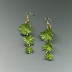 Lime Anodized Aluminum Lily Pad Chandelier Earrings  by johnsbrana, $75.00