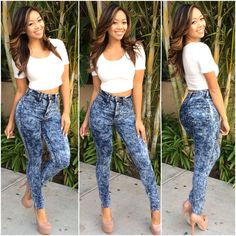 High Waisted Acid Wash Skinny Denim Jean Pants (Dark Wash) - $39.99 #FashionNova #Jeans
