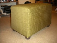 Homemade Ottoman--Klein style. This is a copycat ottoman of the styrofoam one I pinned to my Projects board...we just made ours a different size, used different fabric, and different feet for it of course. I think it turned out pretty well!!