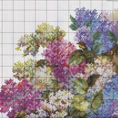 Embroidery scheme Fragrance of lilac (Wonderful needle) 1 from 4 Cross Stitch Designs, Cross Stitch Patterns, Cross Stitching, Cross Stitch Embroidery, The Diagram, Cross Stitch Flowers, Decorative Pillows, Needlework, Diy And Crafts