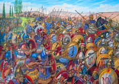 Alexander the Great leading his Macedonian phalanx in battle