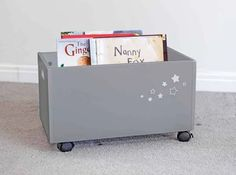 Children's Storage Box with Wheels, Grey Storage Bins With Wheels, Rolling Storage Bins, Ikea Toy Storage, Crate Storage, Kids Storage, Childrens Storage Boxes, Kids Toy Boxes, Modern Toy Boxes, Modern Toys