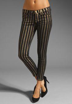 Gold Metallic Stripe slim fit pants.