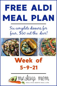 Free ALDI Meal Plan week of 5/9/21 - 5/15/21: As always, six complete dinners for four, $60 out the door! This week we're cooking up everything from easy vegetable lo mein to a comforting sausage, peppers, & onions frittata -- and so much more. Come cook along with us, and save some time & money this week.