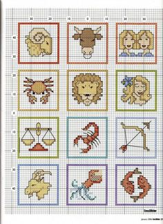 Cross-stitch Horoscope bookmarks part color chart on part 2 Cross Stitch Freebies, Cross Stitch Bookmarks, Cross Stitch Charts, Cross Stitching, Cross Stitch Embroidery, Embroidery Patterns, Cross Stitch Alphabet Patterns, Cross Stitch Designs, Small Cross Stitch