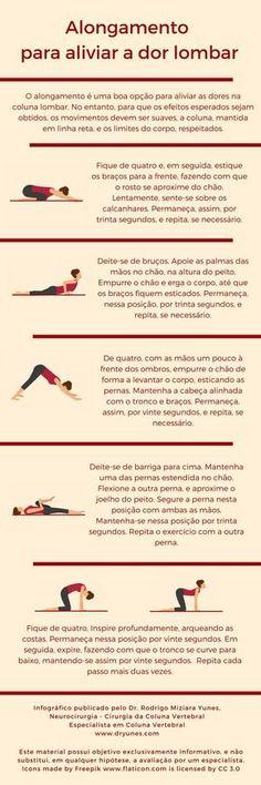 [Infográfico] O alongamento pode aliviar a dor lombar. Conheça alguns exercícios indicados. Acesse http://www.dryunes.com/alongamento-para-aliviar-dor-lombar/.