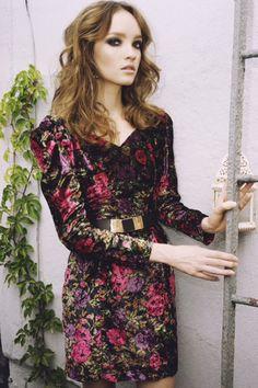 1980's Floral Velvet MIni Dress