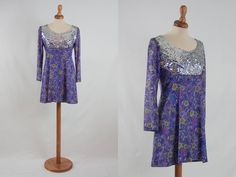 late 60s dress, sparkling dress, sequin dress, yeye girl style, silver mini dress, sartorial made, purple dress, long sleeve, bling bling by MyLoftVintage on Etsy