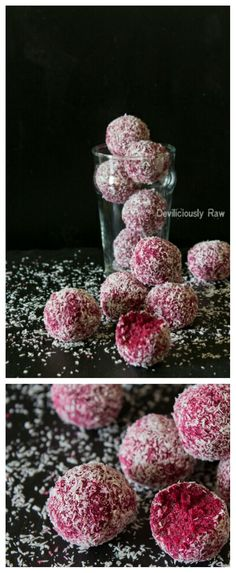 Raw Vegan Coconut and Beetroot Balls by Deviliciously Raw. All you need is 5 simple ingredients (shredded coconut buckwheat dates beetroot and vanilla) to make these cuties and as YUM as it looks like. Super easy the blog!