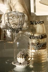 Lampshades dressed in vintage jewelry:)  Beautiful vintage display ideas!