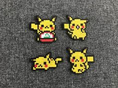 Pikachu with Hat: 2.25 x 2.5 Walking Pikachu: 2.5 x 2.5 Sleeping Pikachu: 2.75 x 1.5 Sitting Pikachu: 2.25 x 2.25 **This item is ready made and will be shipped within 1-2 business days. Feel free to ask any questions and I will do my best to answer them as quick as I can. *Made with MINI beads*