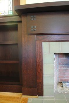 sawn white oak fireplace surround & bookcases – example of quarter sawn darker stain with oak floaring Fireplace Art, Craftsman Fireplace, Slate Fireplace, Fireplace Built Ins, Custom Fireplace, Fireplace Surrounds, Fireplace Design, Fireplace Ideas, Fireplaces