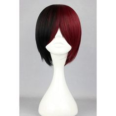 Black Red Ombre Top Quality Middle Part Short Straight Cosplay Wig ($26) ❤ liked on Polyvore featuring costumes, wig costumes, red costumes, red halloween costumes, rose costume and party costumes