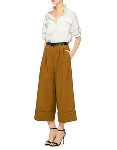 Tibi | City Cropped Wide-leg Pleat Pants in Cinnamon Brown | Wide Leg - IFCHIC