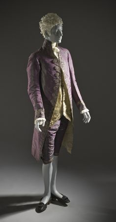 Man's Suit  Europe, circa 1790, altered circa 1805  Costumes; principal attire (entire body)  Coat and breeches: silk plain weave (shot taffeta) with sequins and metallic-thread embroidery; waistcoat: silk satin with sequins and metallic-thread embroidery  a) Coat center back length: 45 1/2 in. (115.57 cm); b) Waistcoat center back length: 24 1/2 in. (62.23 cm); c) Breeches inseam length: 15 1/2 in. (39.37 cm); c) Breeches side length: 26 1/2 in. (67.31 cm)