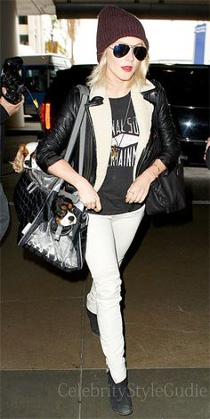 Seen on Celebrity Style Guide: Julianne Hough keeps cozy At LAX in this Shearling-Trimmed Leather Jacket November 22....Get It Here: http://rstyle.me/~15PCm