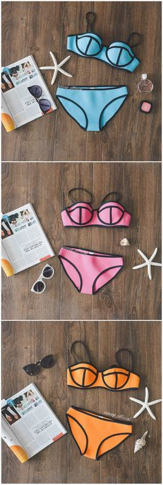 Swingy Ribbon Textured Bikini Swimsuit.Check more from www.oasap.com .