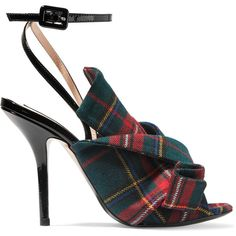 No. 21 Knotted plaid canvas and patent-leather sandals (€535) ❤ liked on Polyvore featuring shoes, sandals, heels, strap sandals, strappy high heel sandals, black heeled sandals, black strappy sandals and black high heel shoes