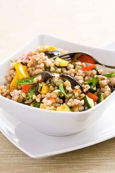 Pohankový salát s pečenou zeleninou a rukolou Healthy Life, Healthy Eating, No Salt Recipes, Buckwheat, Kung Pao Chicken, Ham, Main Dishes, Food And Drink, Vegetarian