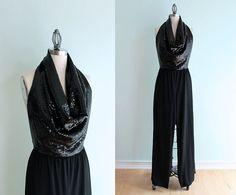70's Vintage Black Sequin Jumpsuit - Large/XL - $92