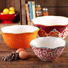 The Pioneer Woman Flea Market Scalloped Edge Serving Bowl Set -3 Bowls New