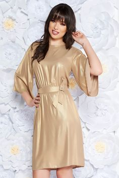 StarShinerS gold occasional cloche dress thin fabric with inside lining with elastic waist, accessorized with tied waistband, inside lining, flaring cut, elastic waist, bell sleeve, thin fabric, one back botton fastening