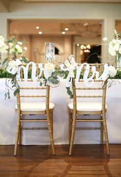 Chair Signs Mr & Mrs Signs for Boho Chic Wedding Chairs Bride and Groom - Hanging Chair Signs Wedding Decor - 3 Piece Set (Item - MCK200)